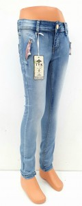 Girl Jeans With Pink Zips, 6-14 Years