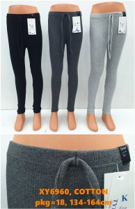 Girl Cotton Leggings, With Twine, 134-164cm, 3 Color