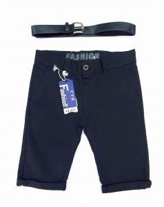 Boy Chinos Shorts With Button, 8-16 Years, Black